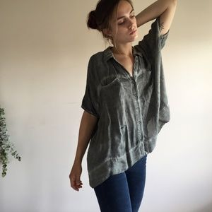 Free People Boxy Flowy Short Sleeve Button Up Top
